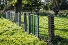 Metal grille fence with green gate in green surroundings royalty free stock image
