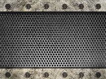 Metal grille framed steel strips with bolts Royalty Free Stock Photo