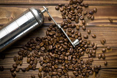 Metal grinder with coffee beans Stock Images