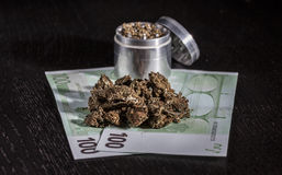 Metal grinder with marijuana and money Royalty Free Stock Photo