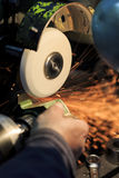 Metal grinding. Close up detail view at metal grinding Stock Photography