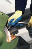 Metal grinding Stock Photo