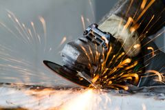 Metal grinding Stock Photos