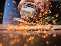 Metal grinding on steel sheet Royalty Free Stock Photography