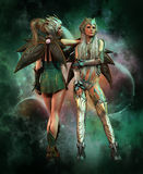 Metal guardians of outer space, 3d CG. 3d computer graphics of a fantasy scene with two girls in fantasy outfit Royalty Free Stock Photography