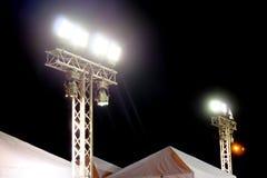 Metal halide lights on poles trust. Set up lighting in the event Stock Photo