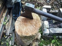 A metal hammer sticks out of a stump. Firewood preparation. stock photography
