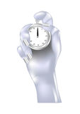 Metal hand and stopwatch Royalty Free Stock Photos