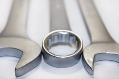 Metal hand tools set Stock Photos