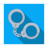 Metal handcuffs for detaining criminals. Outfit of a policeman.Prison single icon in flat style vector symbol stock Stock Image