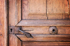 Metal handle and lock on an old wooden door Stock Images