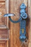 Metal handle. An old wood door with metal handle Stock Photos