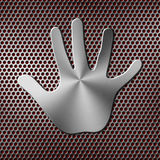 Metal handprint Royalty Free Stock Images
