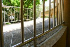 Metal handrail of slope pedestrian walkway Royalty Free Stock Images