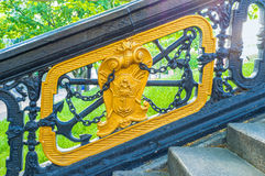 The metal handrails. The handrails in the park next to the OperaTheatre are decorated with first coat of arms of Odessa Royalty Free Stock Image
