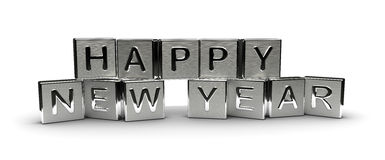 Metal Happy New Year Text Royalty Free Stock Images