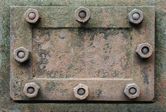 Metal hatch with nuts stock images