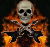 Metal head. Heavy metal image of skull, flames and guitars Royalty Free Stock Photo