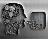 Metal head with brain gears and speech bubble Stock Image