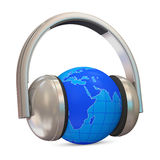 Metal Headphones with Miniature Globe Stock Image