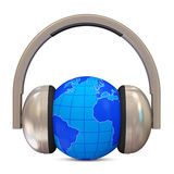 Metal Headphones with Miniature Globe Stock Photography