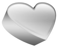 Metal heart. Isolated grey metal hart icon Royalty Free Stock Image