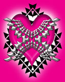 Metal heart abstract. Abstract metal style heart background illustration, in pink, black and silver royalty free illustration