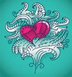 Metal heart tattoo. Beutiful metal heart tattoo - outline vector illustration Stock Image