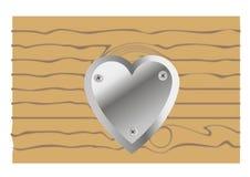 Metal heart on wooden background. Metal heart screwed vitamin tree vector illustration