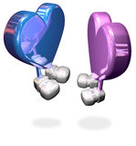 Metal hearts. Blue and pink isolated 3d hearts on white background Stock Images