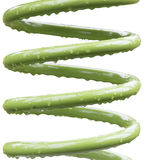 Metal heavy duty spring with green coating and water droplets Stock Image