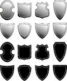 Metal heraldic shield set. Set of metal heraldic shields. Armorial symbol. Isolated vector illustration on white background Royalty Free Stock Image