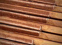 Metal hinges detail old wood folding rule Royalty Free Stock Photo