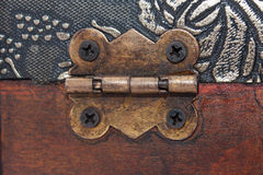 Metal hinges on the wooden coffin Royalty Free Stock Photos