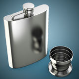 Metal hip flask with cup Stock Images