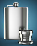 Metal hip flask with cup Royalty Free Stock Image