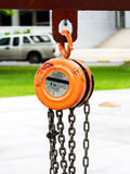 Metal hoist and chain Royalty Free Stock Photography