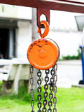 Metal hoist and chain Royalty Free Stock Image