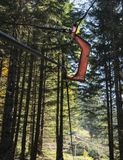 Metal hook for transporting lumber in the forest stock photo
