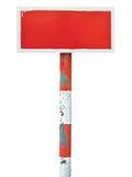 Metal horizontal de la prohibición de peligro del tablero pintado a mano rojo de la señal Foto de archivo libre de regalías
