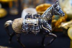 Metal horse figurine in an antique bazaar royalty free stock image