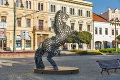 Metal horse statue in Old Town in Presov, Slovakia. Stock Image