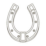 A metal horseshoe for horses. Shoes for horses to protect hooves.Farm and gardening single icon in outline style vector Stock Images