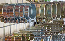 Metal hose clips. Clamp rings Stock Images