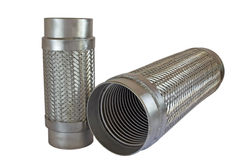 Metal hose. Two metal expansion joints isolated on white Royalty Free Stock Photo