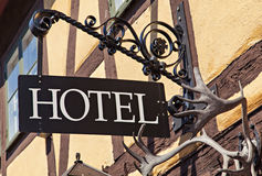 Metal hotel sign Stock Photography