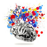 metal human brain with splash colors Stock Photo