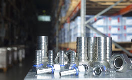 Metal hydraulic fittings Stock Photos