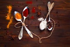 Metal i cucchiai e gli ingredienti su un fondo di legno Fondo con le spezie Fotografie Stock