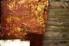 Metal i drewniany tekstury tło Obraz Royalty Free